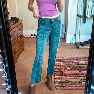 Mid- Rise Washed Jeans